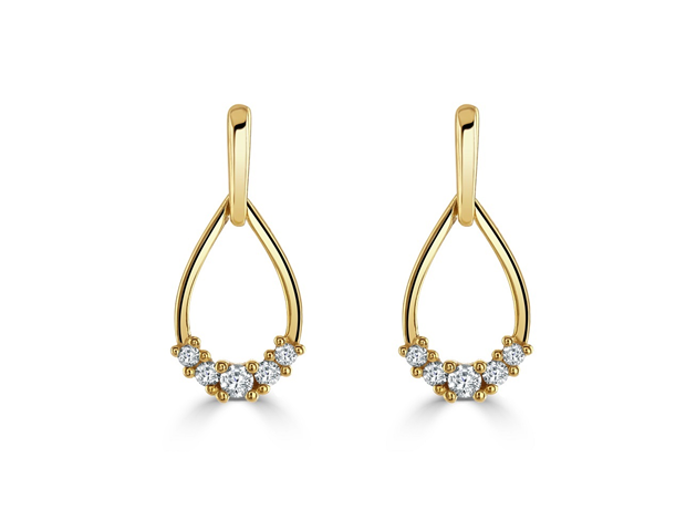 18ct Yellow Gold Diamond Pear Shaped Earrings