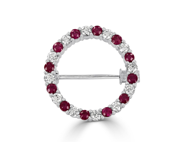 18ct White Gold Ruby and Diamond Circle Brooch