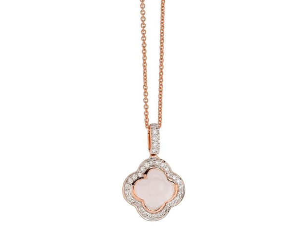 18ct Rose and White Gold Pink Quartz and Diamond Pendant