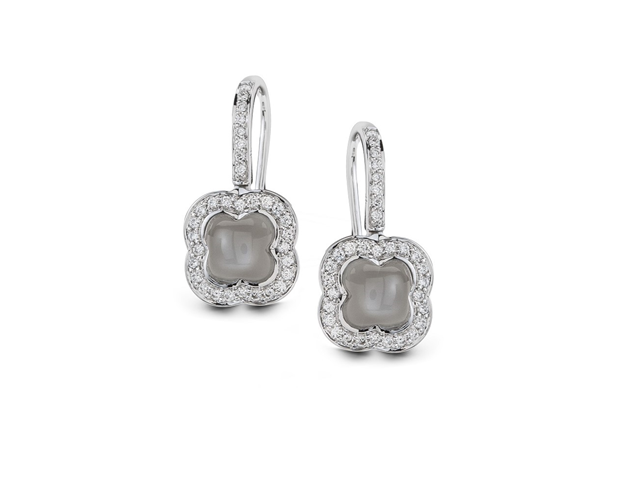 18ct White Gold Moonstone and Diamond Earrings