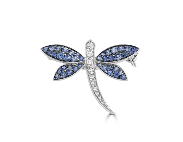 Sapphire and Diamond Mayfly Brooch