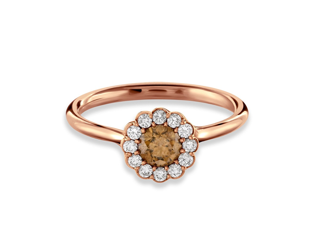 18ct Rose Gold Cannelé Diamond Halo Engagement Ring