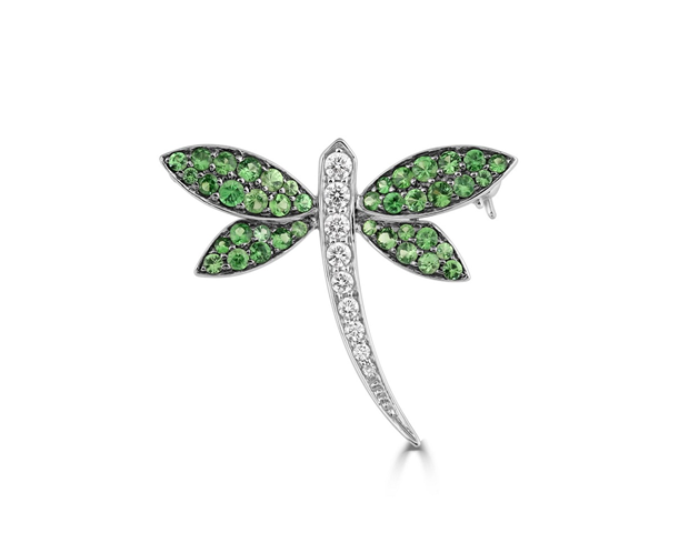 18ct White Gold Tsavorite and Diamond Mayfly Brooch
