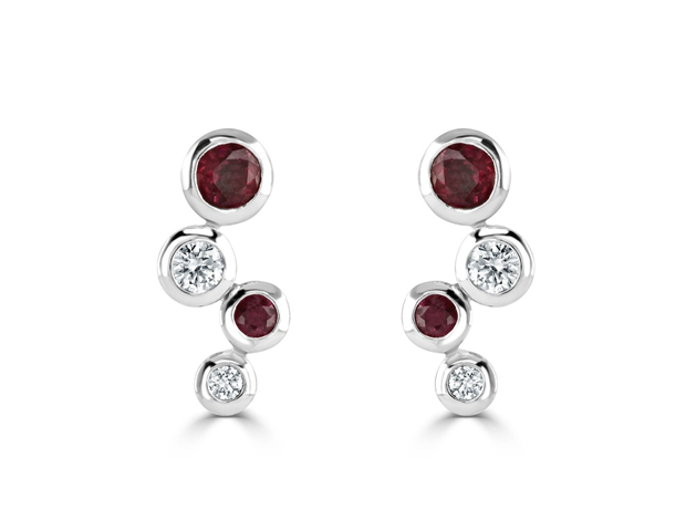 18ct White Gold Ruby and Diamond Bubble Earrings
