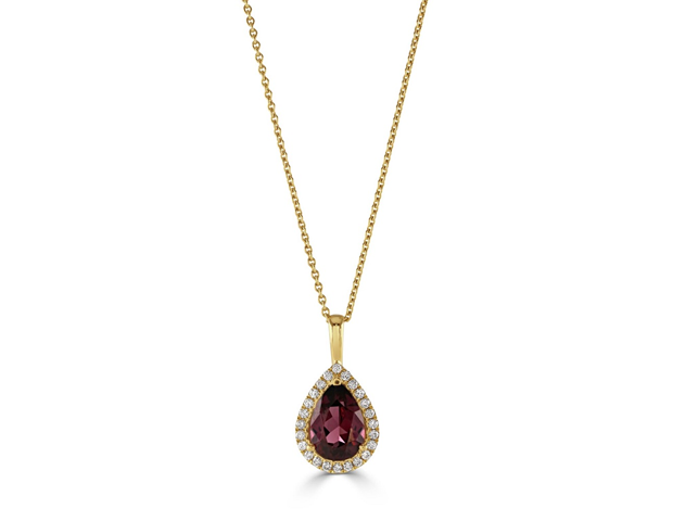 Halo Pendant - Diamond and Rhodolite
