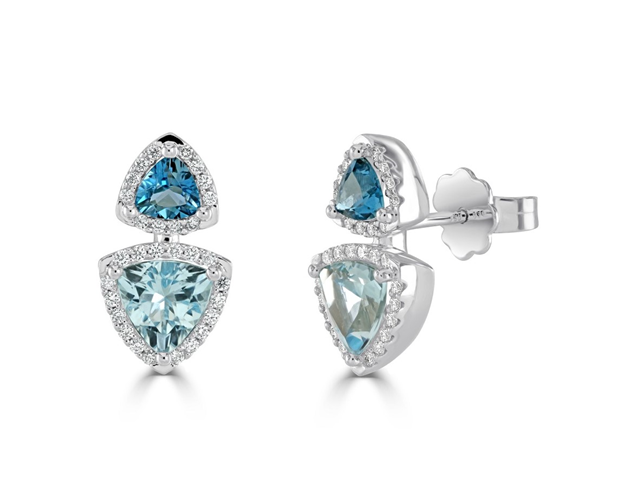 Diamond and Topaz Halo Earrings