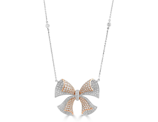 18ct White and Rose Gold Diamond Bow Pendant