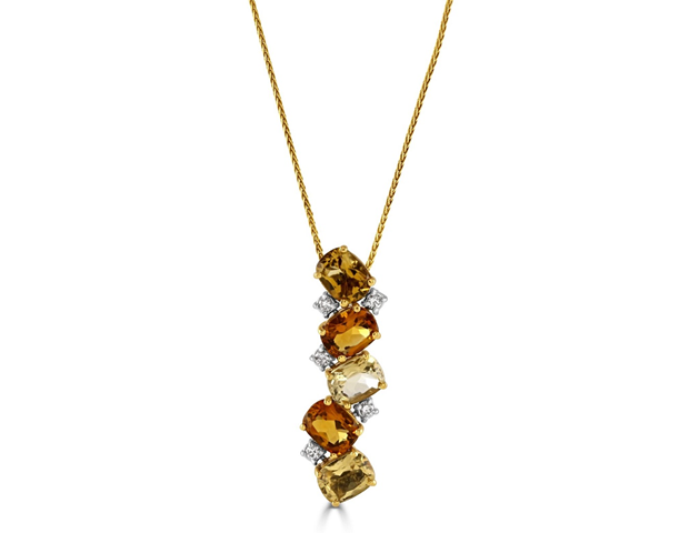 18ct Yellow and White Gold Citrine and Diamond Pendant
