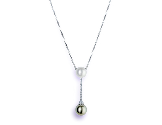 Schoeffel Pearl and Diamond Drop Pendant